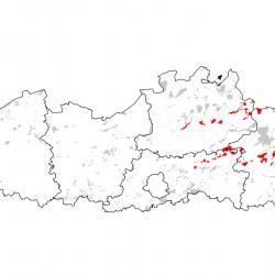 Kaart van de speciale beschermingszones voor: Grote modderkruiper