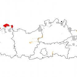 Vogelrichtlijngebieden voor Visdief. Rood: belangrijk broed-, trek- en/of overwinteringsgebied. Oranje: broed-, trek- en/of overwinteringsgebied met kleinere aantallen.