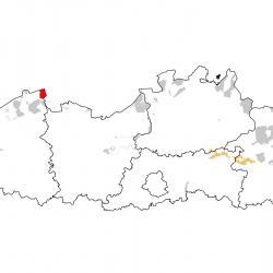 Vogelrichtlijngebieden voor Steltkluut. Rood: belangrijk broed-, trek- en/of overwinteringsgebied. Oranje: broed-, trek- en/of overwinteringsgebied met kleinere aantallen.