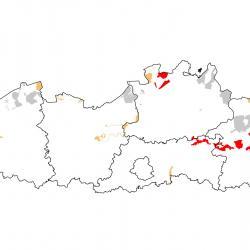 Vogelrichtlijngebieden voor Porseleinhoen. Rood: belangrijk broed-, trek- en/of overwinteringsgebied. Oranje: broed-, trek- en/of overwinteringsgebied met kleinere aantallen.