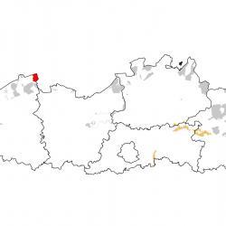 Vogelrichtlijngebieden voor Ooievaar. Rood: belangrijk broed-, trek- en/of overwinteringsgebied. Oranje: broed-, trek- en/of overwinteringsgebied met kleinere aantallen.