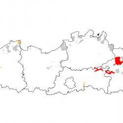 Vogelrichtlijngebieden voor Kwartelkoning. Rood: belangrijk broed-, trek- en/of overwinteringsgebied. Oranje: broed-, trek- en/of overwinteringsgebied met kleinere aantallen.