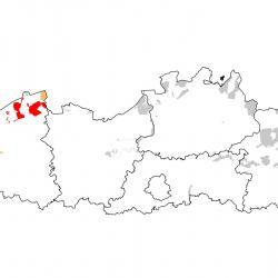 Vogelrichtlijngebieden voor Kleine rietgans. Rood: belangrijk broed-, trek- en/of overwinteringsgebied. Oranje: broed-, trek- en/of overwinteringsgebied met kleinere aantallen.
