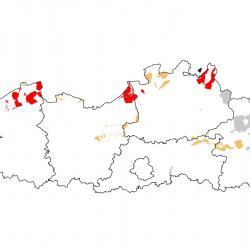 Vogelrichtlijngebieden voor Kemphaan. Rood: belangrijk broed-, trek- en/of overwinteringsgebied. Oranje: broed-, trek- en/of overwinteringsgebied met kleinere aantallen.