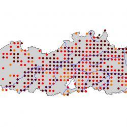 Verspreidingskaart IJsvogel. Kaart afkomstig van de atlas van de Vlaamse broedvogels van 2000 - 2002.