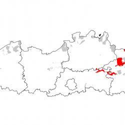 Vogelrichtlijngebieden voor Grauwe klauwier. Rood: belangrijk broed-, trek- en/of overwinteringsgebied. Oranje: broed-, trek- en/of overwinteringsgebied met kleinere aantallen.