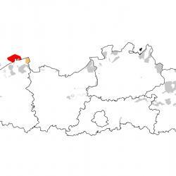 Vogelrichtlijngebieden voor Dwergstern. Rood: belangrijk broed-, trek- en/of overwinteringsgebied. Oranje: broed-, trek- en/of overwinteringsgebied met kleinere aantallen.