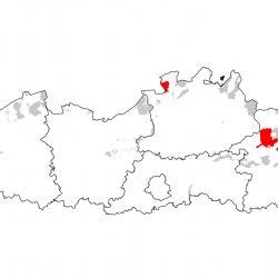 Vogelrichtlijngebieden voor Duinpieper. Rood: belangrijk broed-, trek- en/of overwinteringsgebied. Oranje: broed-, trek- en/of overwinteringsgebied met kleinere aantallen.