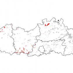 Kaart van de speciale beschermingszones voor: Verspreidingskaart Meervleermuis