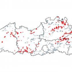 Kaart van de speciale beschermingszones voor: Oude zuurminnende eikenbossen op zandvlakten met Quercus robur