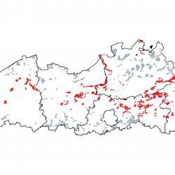 Kaart van de speciale beschermingszones voor:  Laaggelegen schraal hooiland (Alopecurus pratensis, Sanguisorba officinalis)