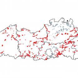 Kaart van de speciale beschermingszones voor: Voedselrijke zoomvormende ruigten van het laagland, en van de montane en alpiene zones