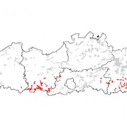 Kaart van de speciale beschermingszones voor: Droge halfnatuurlijke graslanden en vegetaties met struikopslag op kalkhoudende bodems (Festuco-Brometalia)