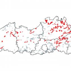 Kaart van de speciale beschermingszones voor:  Noord-Atlantische vochtige heide met Erica tetralix