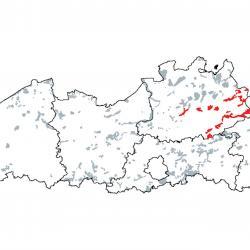 Kaart van de speciale beschermingszones voor: Submontane en laagland rivieren met vegetaties behorend tot het Ranunculion fluitantis en het Callitricho-Batrachion