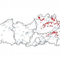 Kaart van de speciale beschermingszones voor: Mineraalarme oligotrofe wateren van de Atlantische zandvlakten (Littorelletalia uniflorae)